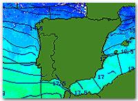 Температура воды на побережье Испании
