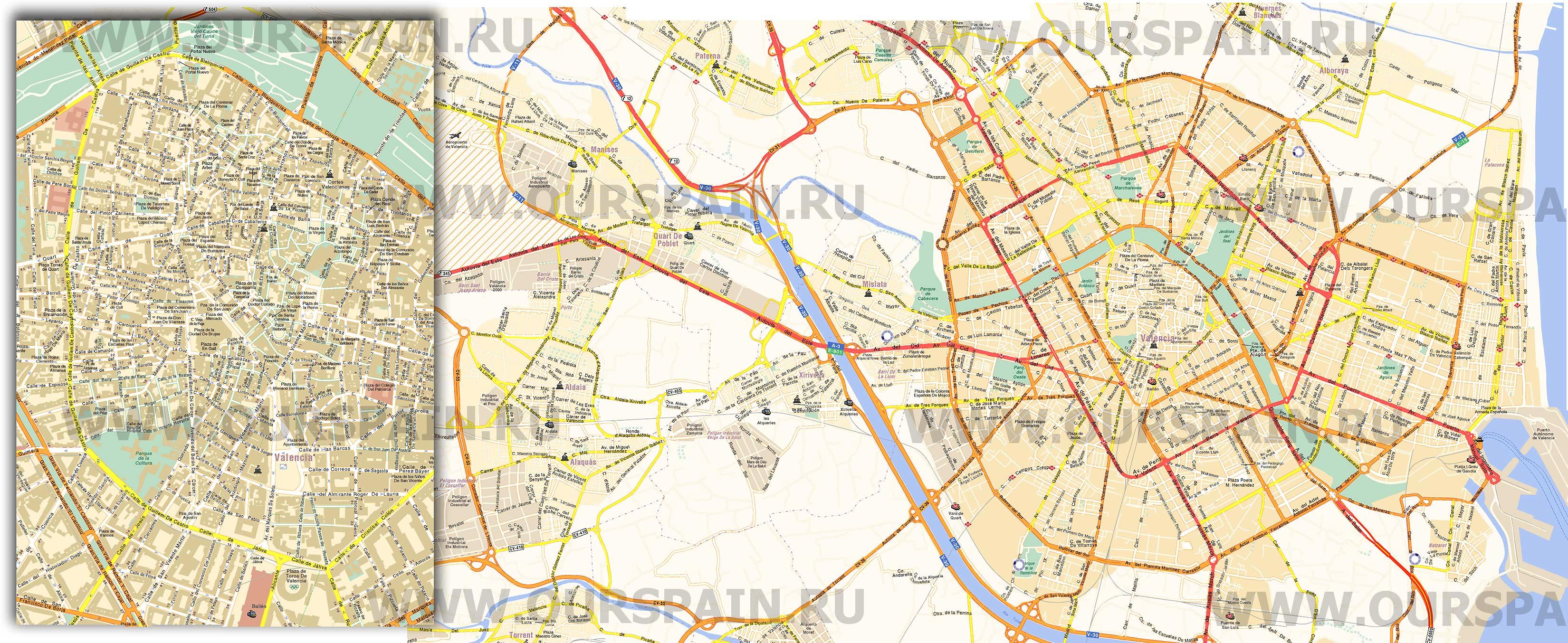 Валенсия - Карты городов - Наша Испания Валенсия Испания Карта