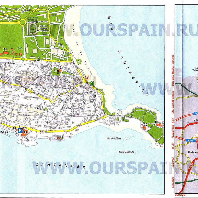 Сантандер - Карты городов - Наша Испания Валенсия Испания Карта